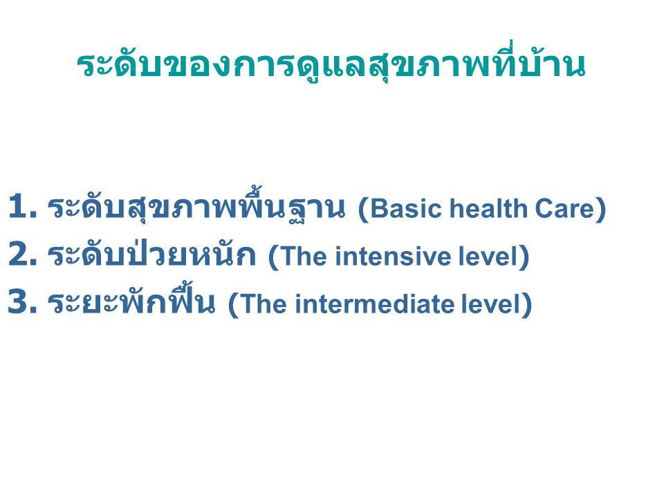ระดับของการดูแลสุขภาพที่บ้าน