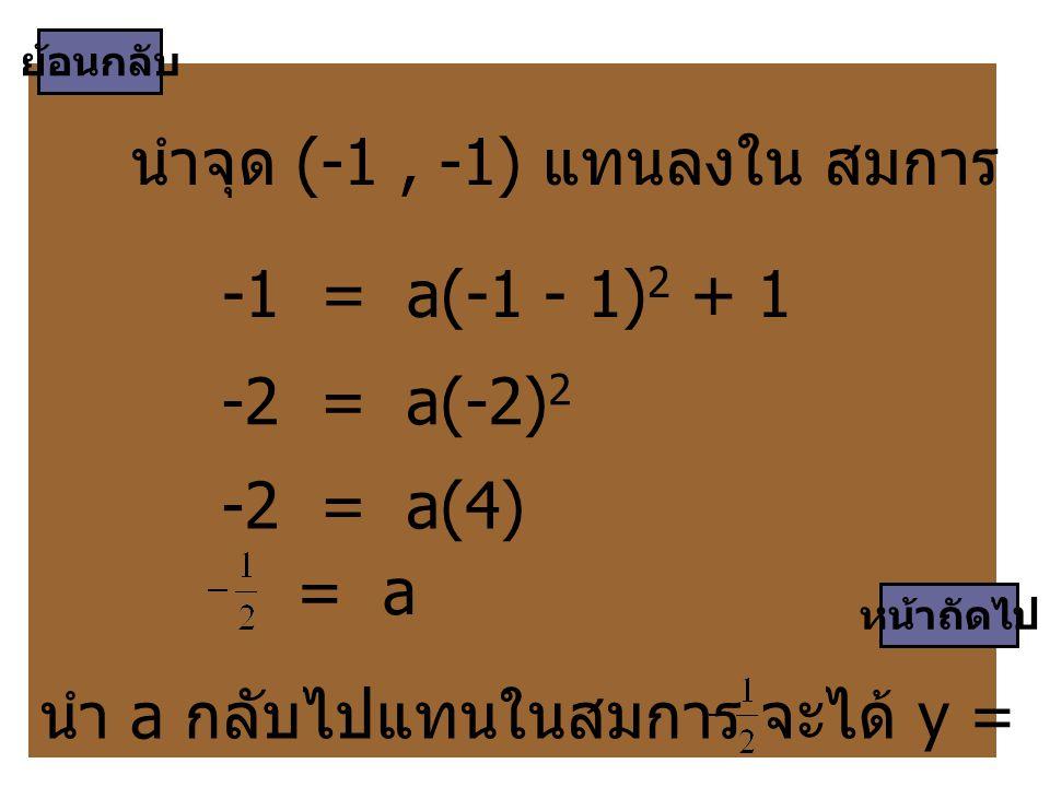 นำจุด (-1 , -1) แทนลงใน สมการ