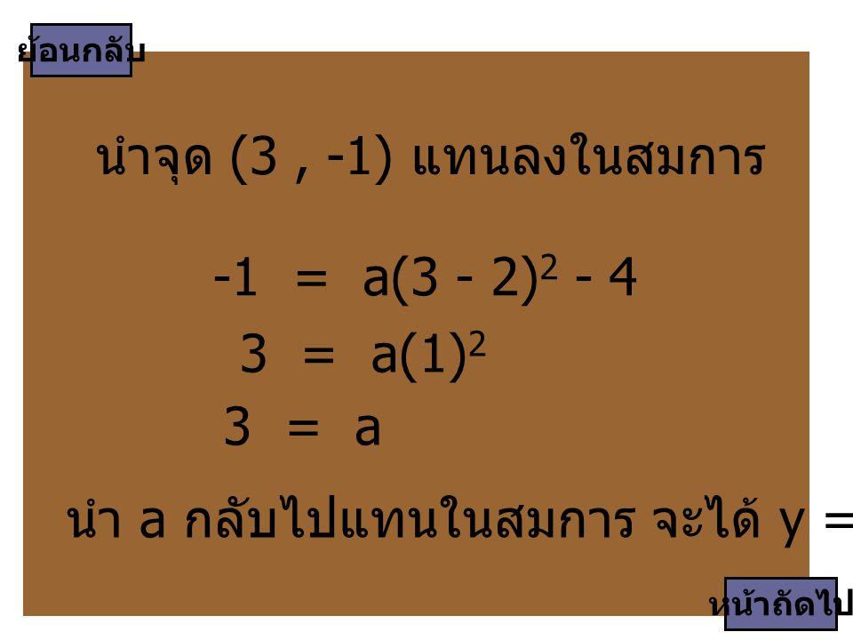 นำจุด (3 , -1) แทนลงในสมการ