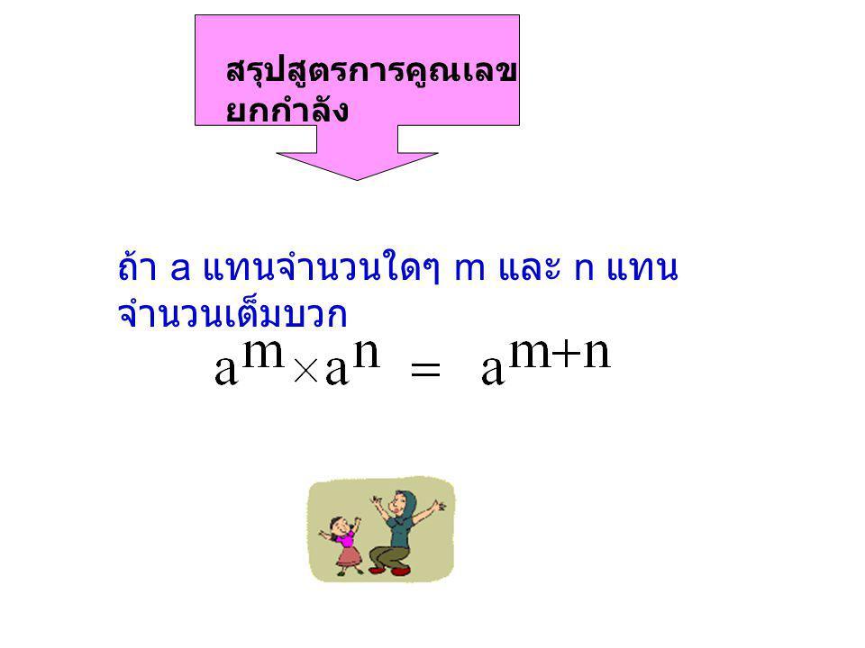 ถ้า a แทนจำนวนใดๆ m และ n แทนจำนวนเต็มบวก