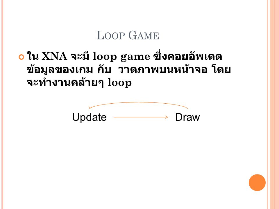 Loop Game ใน XNA จะมี loop game ซึ่งคอยอัพเดตข้อมูลของเกม กับ วาด ภาพบนหน้าจอ โดยจะทำงานคล้ายๆ loop.