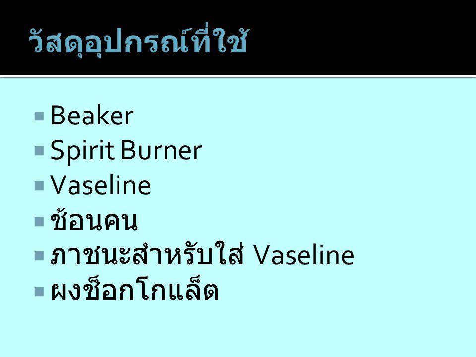 วัสดุอุปกรณ์ที่ใช้ Beaker Spirit Burner Vaseline ช้อนคน