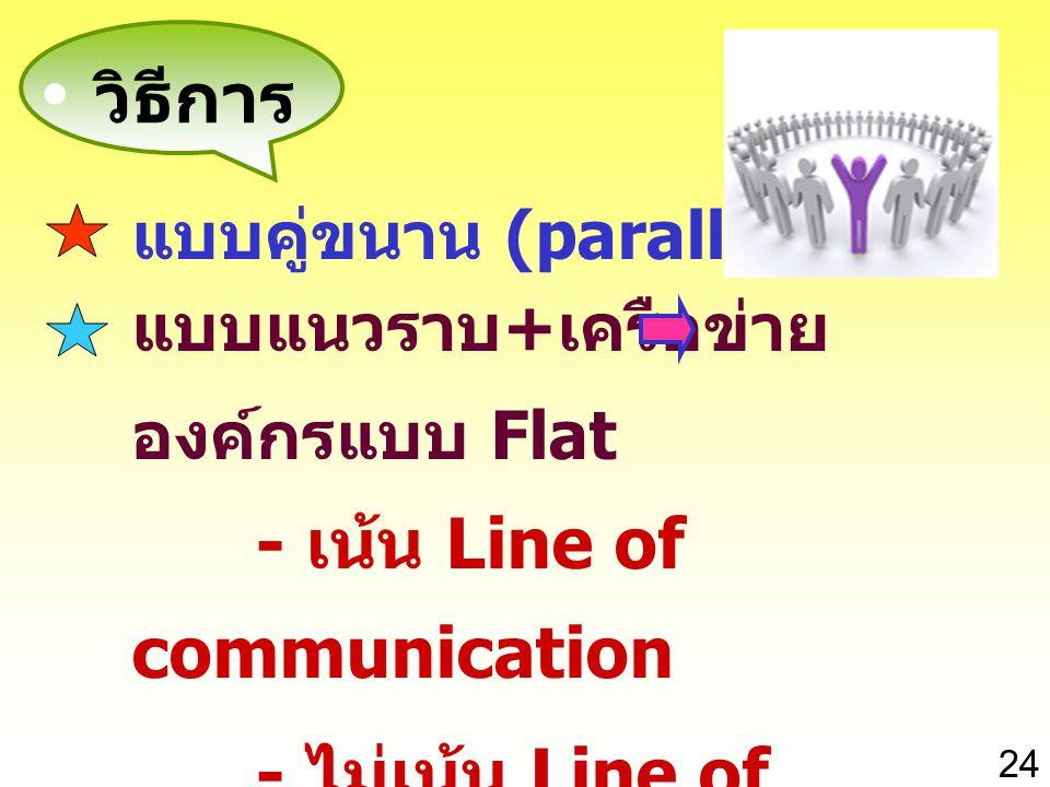 วิธีการ - เน้น Line of communication - ไม่เน้น Line of command