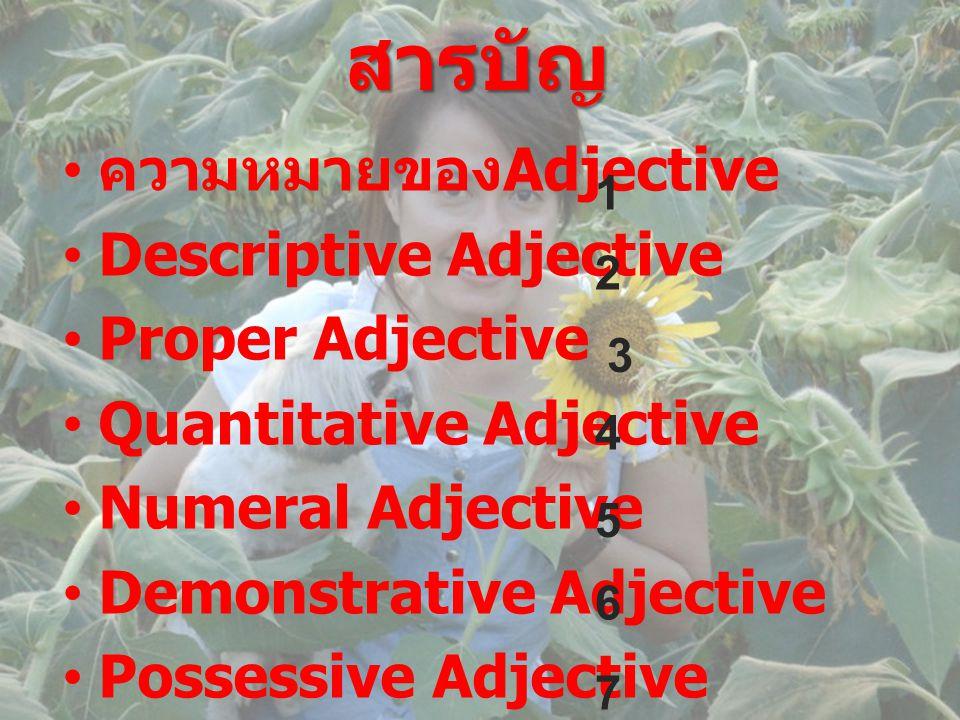 สารบัญ ความหมายของAdjective Descriptive Adjective Proper Adjective