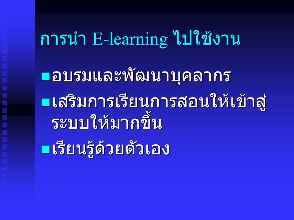 การนำ E-learning ไปใช้งาน