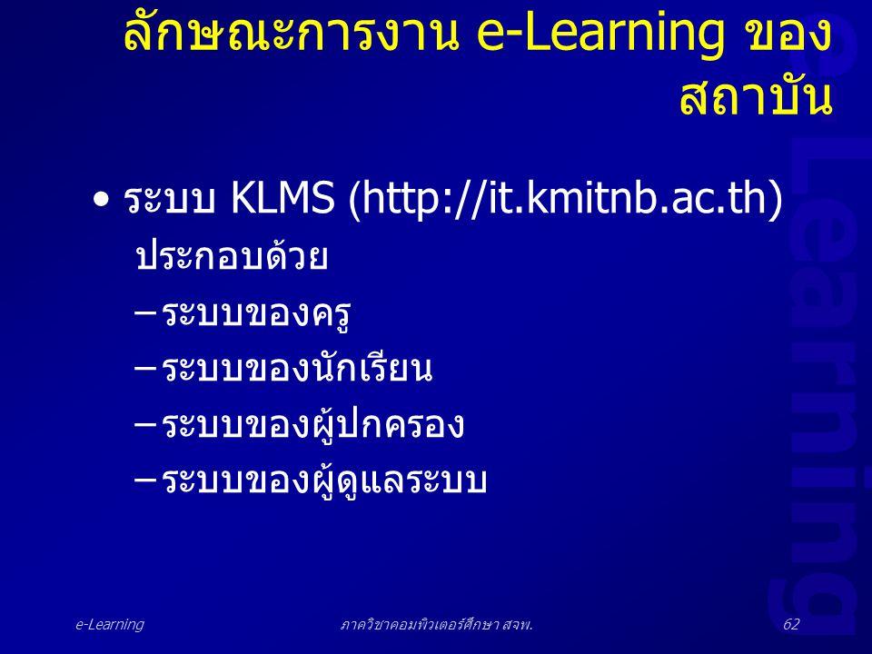 ลักษณะการงาน e-Learning ของสถาบัน