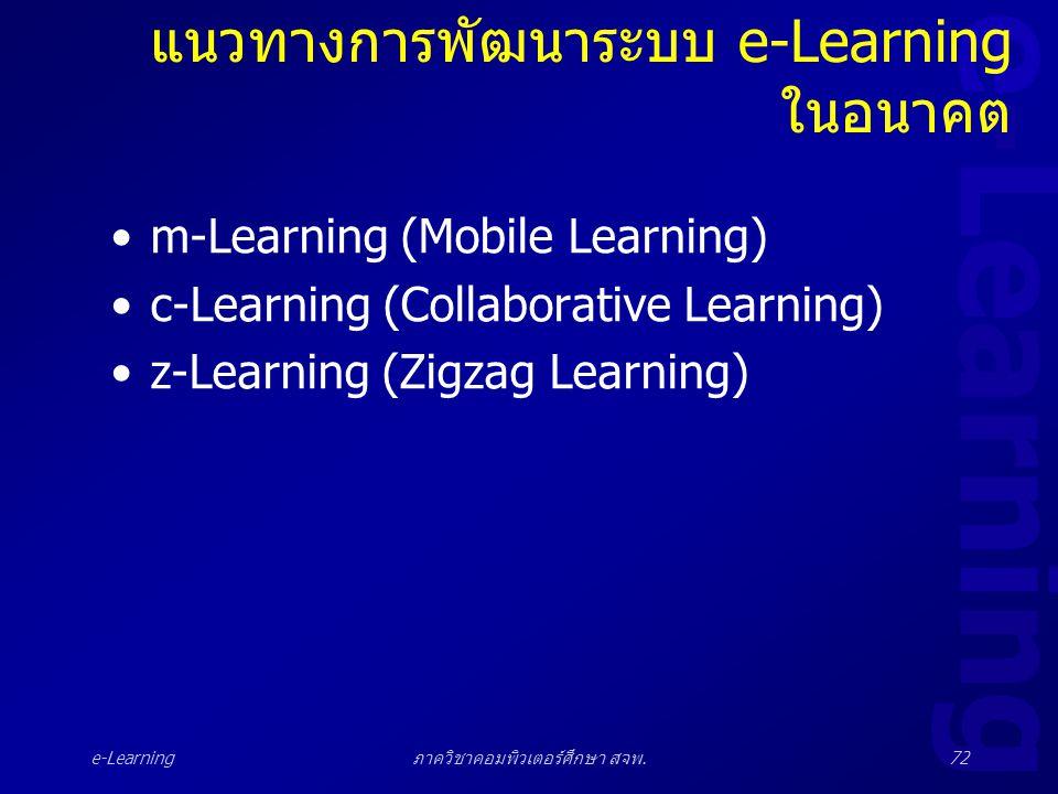 แนวทางการพัฒนาระบบ e-Learning ในอนาคต
