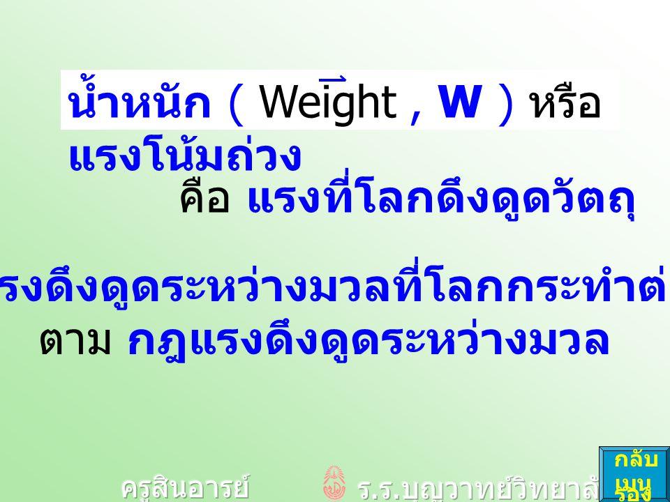 น้ำหนัก ( Weight , W ) หรือ แรงโน้มถ่วง