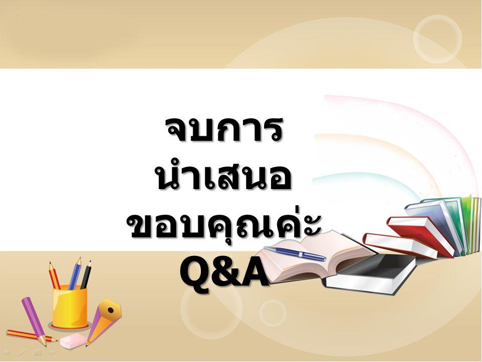 จบการนำเสนอ ขอบคุณค่ะ Q&A