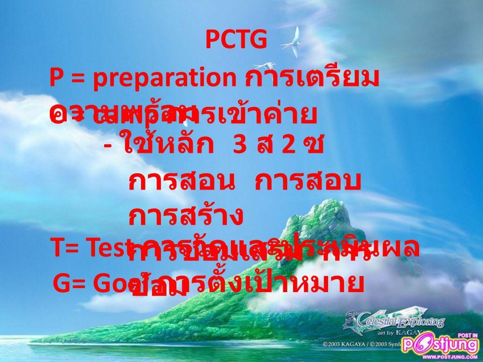 PCTG P = preparation การเตรียมความพร้อม. C = camp การเข้าค่าย. - ใช้หลัก 3 ส 2 ซ. การสอน การสอบ การสร้าง.