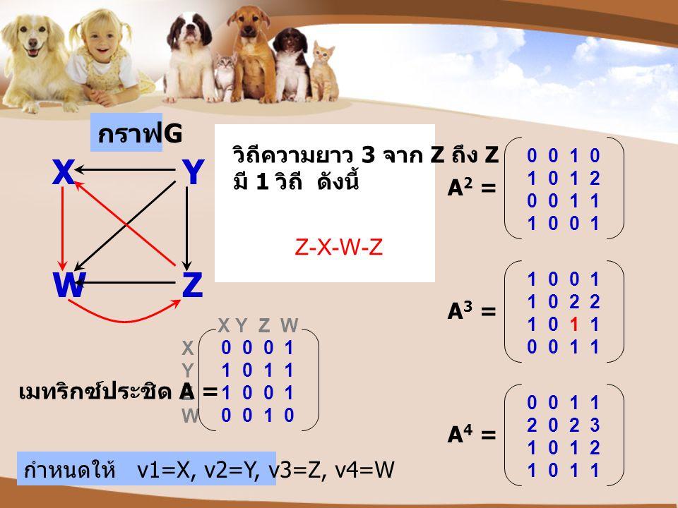 X Y W Z กราฟG วิถีความยาว 3 จาก Z ถึง Z มี 1 วิถี ดังนี้ A2 = Z-X-W-Z
