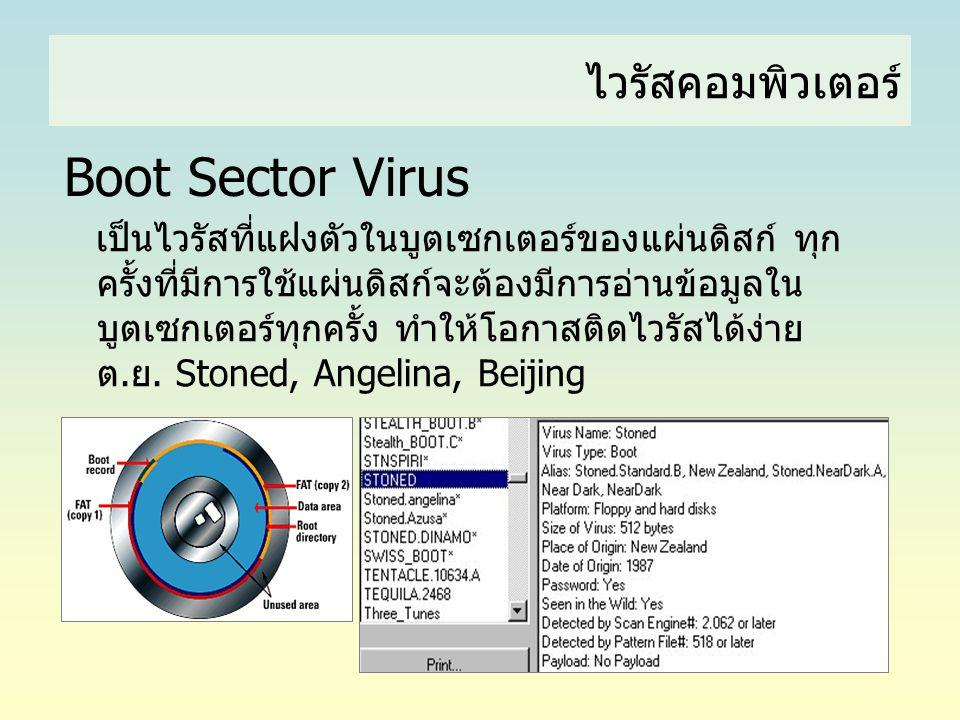ไวรัสคอมพิวเตอร์ Boot Sector Virus