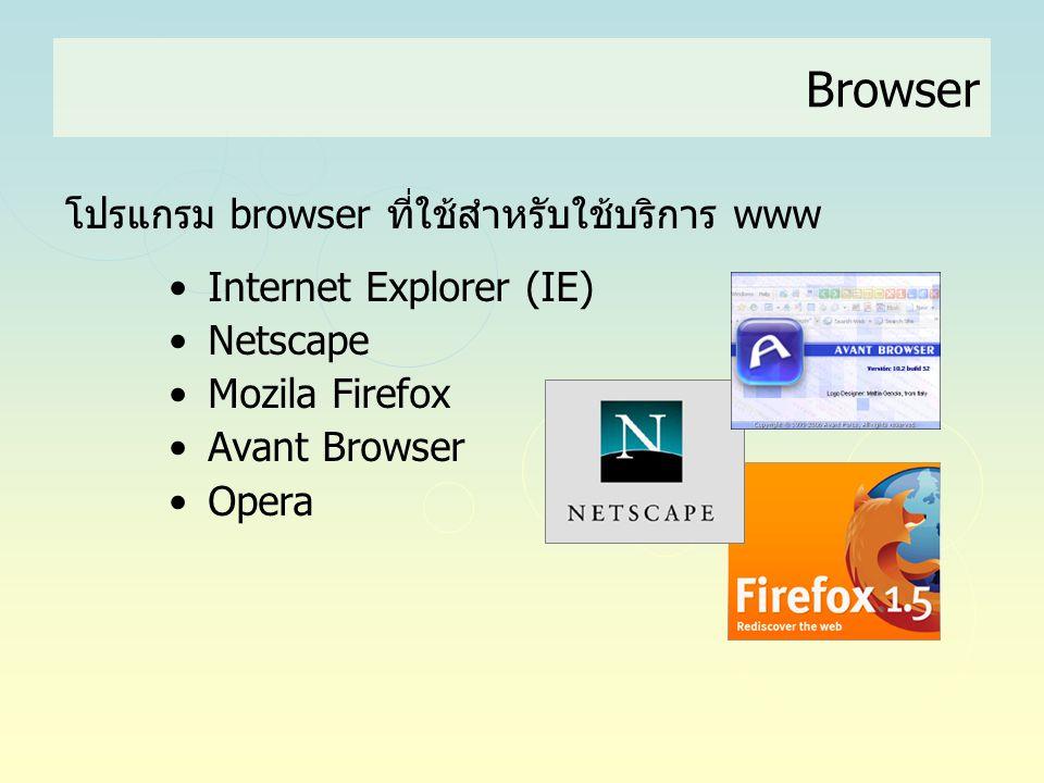 Browser โปรแกรม browser ที่ใช้สำหรับใช้บริการ www