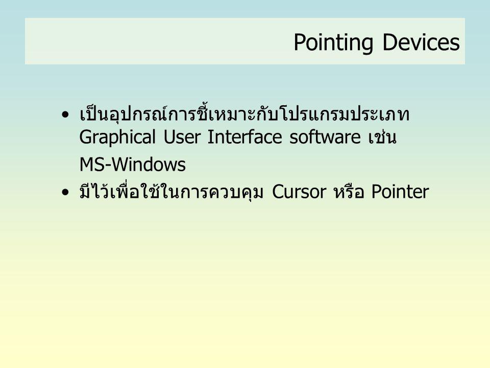 Pointing Devices เป็นอุปกรณ์การชี้เหมาะกับโปรแกรมประเภท Graphical User Interface software เช่น. MS-Windows.