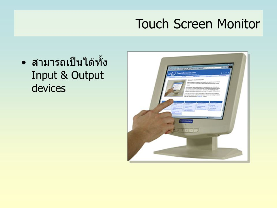 Touch Screen Monitor สามารถเป็นได้ทั้ง Input & Output devices