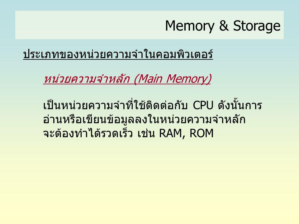 Memory & Storage ประเภทของหน่วยความจำในคอมพิวเตอร์