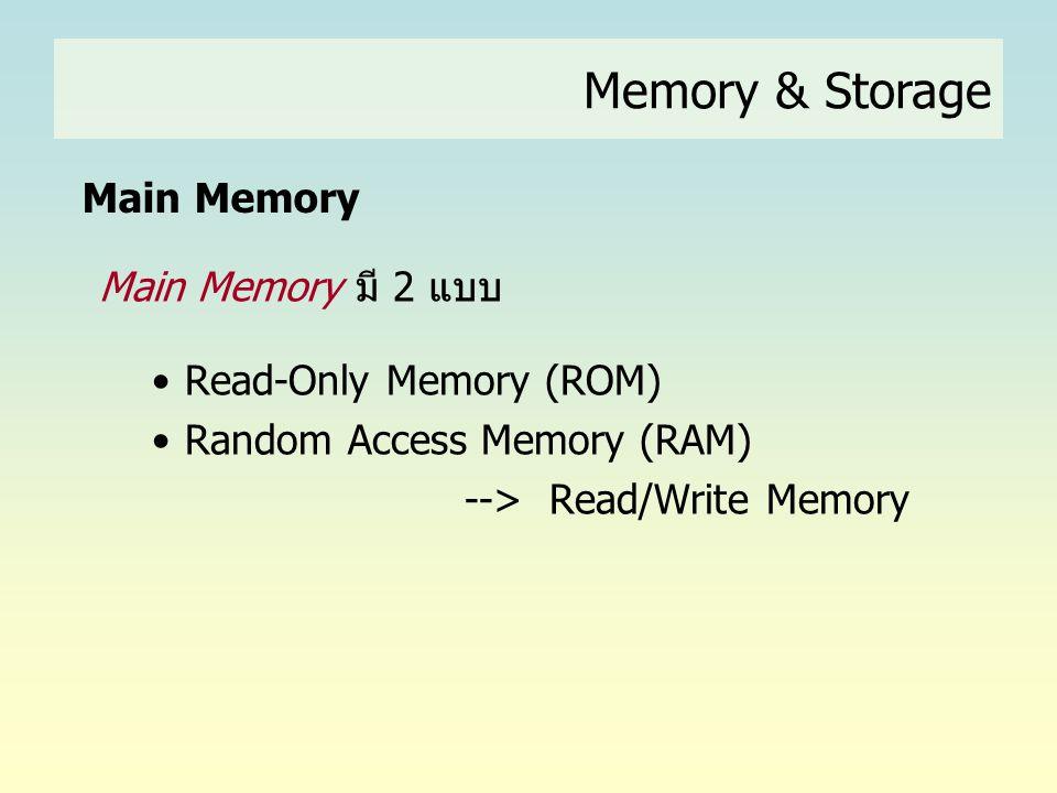 Memory & Storage Main Memory Main Memory มี 2 แบบ
