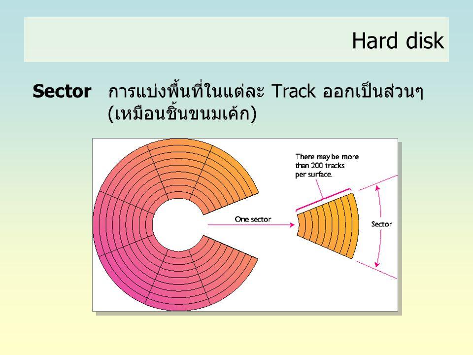 Sector การแบ่งพื้นที่ในแต่ละ Track ออกเป็นส่วนๆ (เหมือนชิ้นขนมเค้ก)