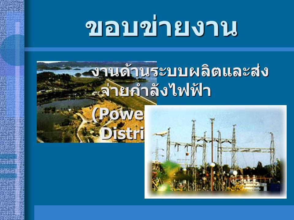 ขอบข่ายงาน งานด้านระบบผลิตและส่งจ่ายกำลังไฟฟ้า