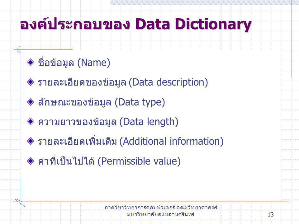 องค์ประกอบของ Data Dictionary