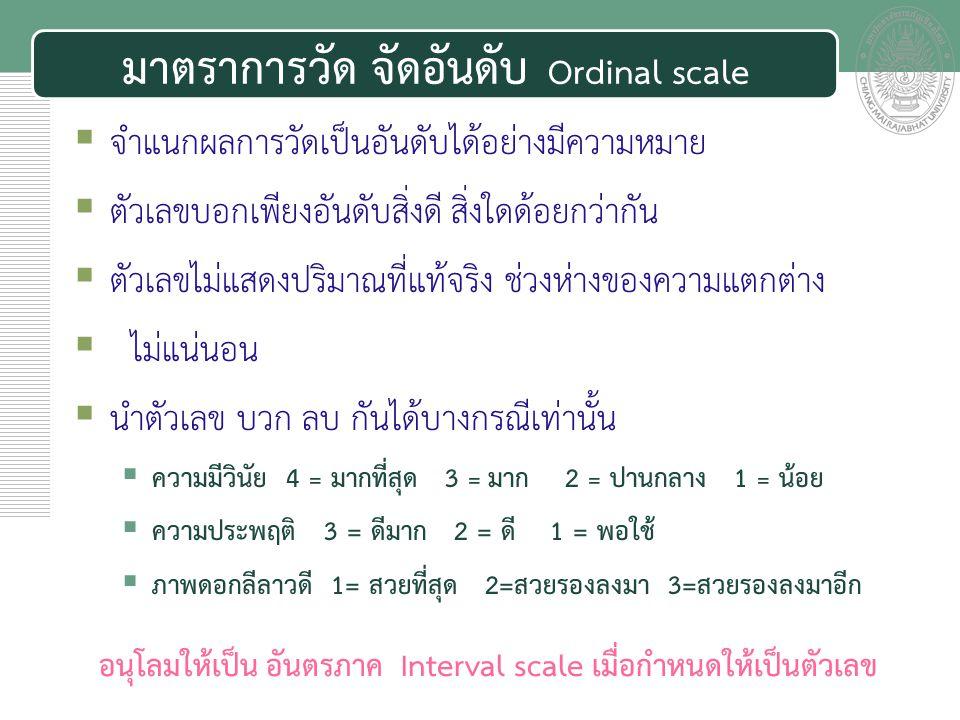 มาตราการวัด จัดอันดับ Ordinal scale
