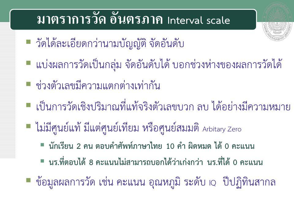 มาตราการวัด อันตรภาค Interval scale