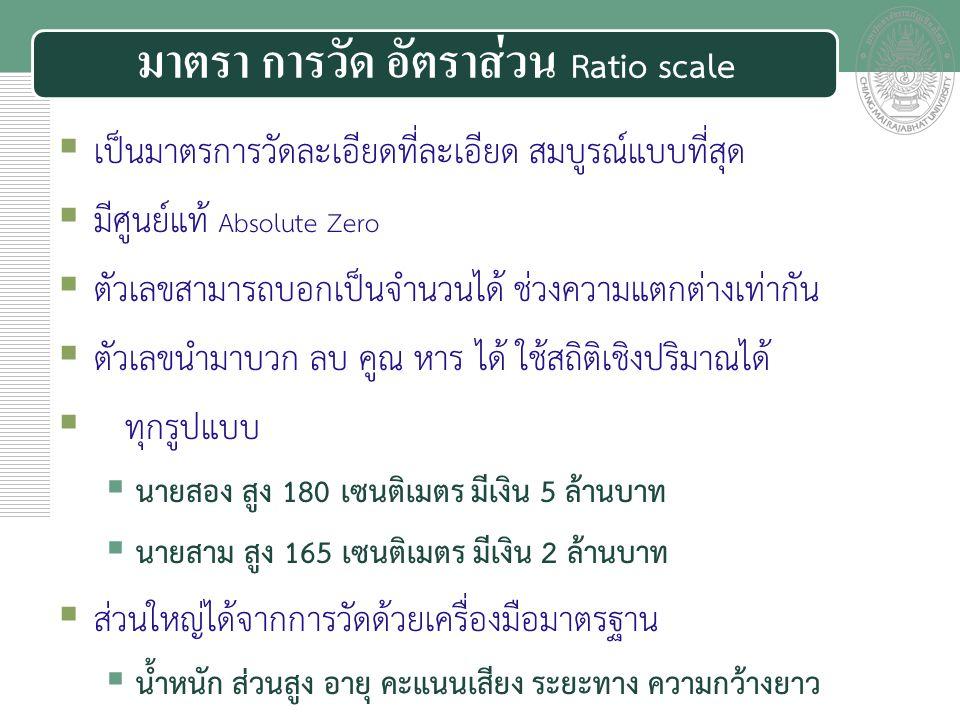 มาตรา การวัด อัตราส่วน Ratio scale