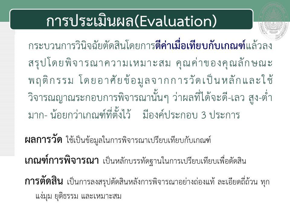 การประเมินผล(Evaluation)