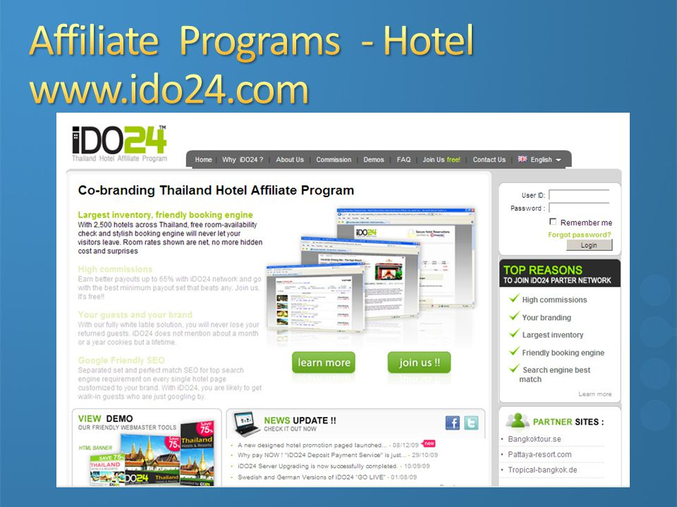 Affiliate Programs - Hotel www.ido24.com
