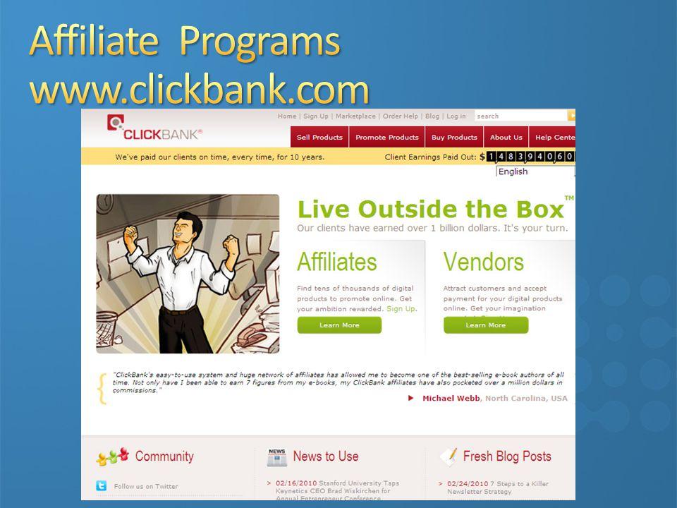 Affiliate Programs www.clickbank.com