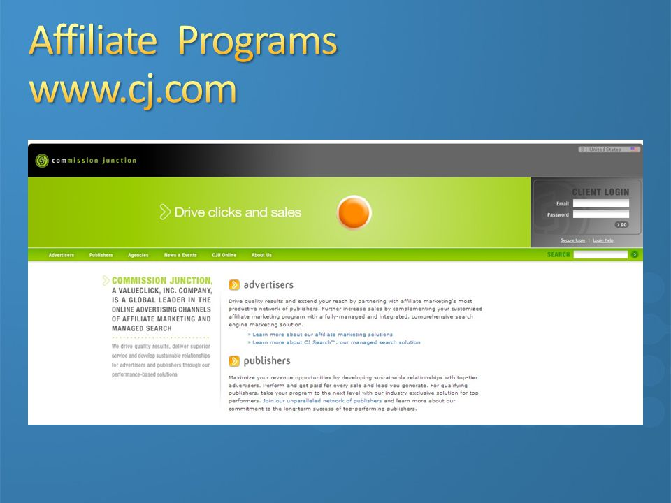Affiliate Programs www.cj.com