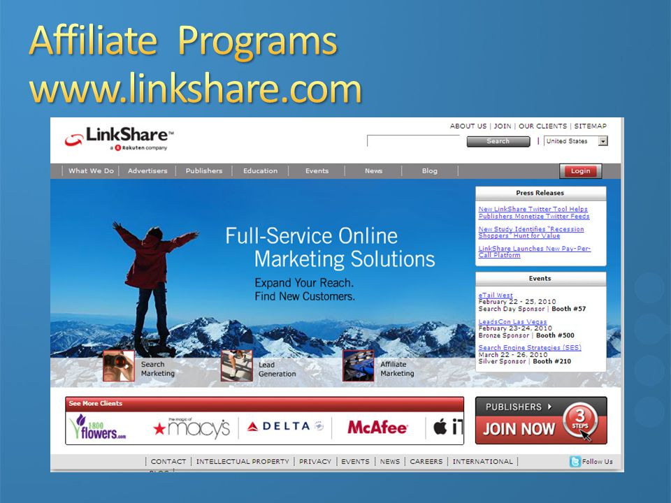 Affiliate Programs www.linkshare.com