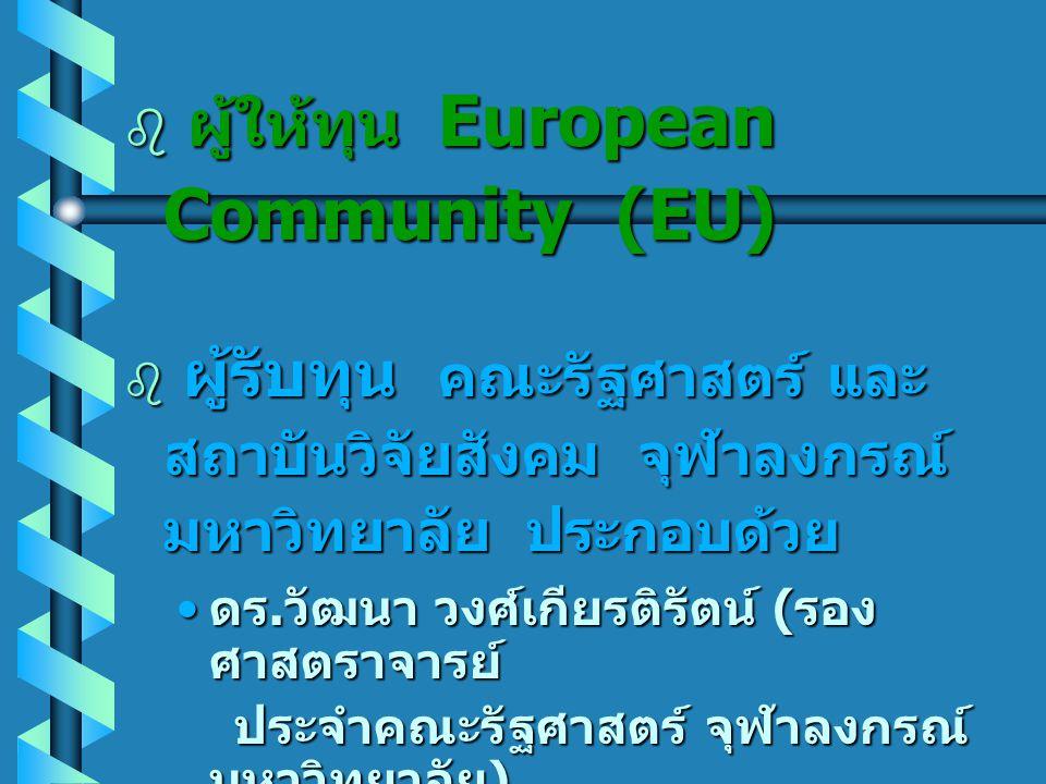 ผู้ให้ทุน European Community (EU)