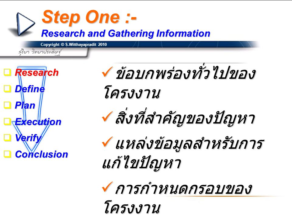 Step One :- Research and Gathering Information