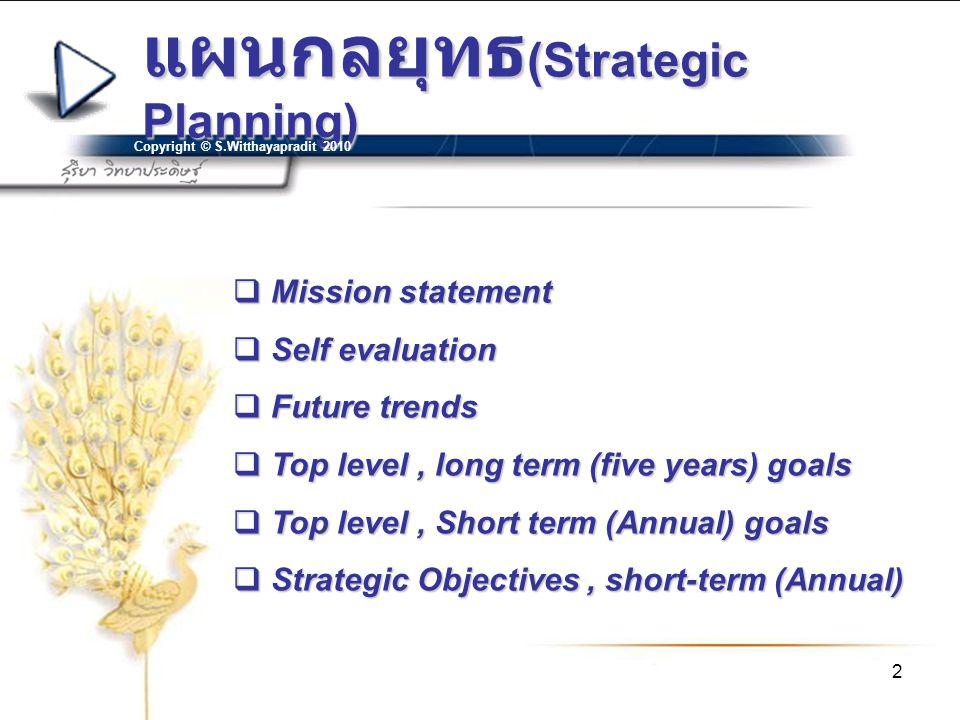 แผนกลยุทธ(Strategic Planning)