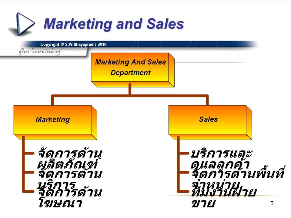 Marketing and Sales จัดการด้านผลิตภัณฑ์ บริการและดูแลลูกค้า