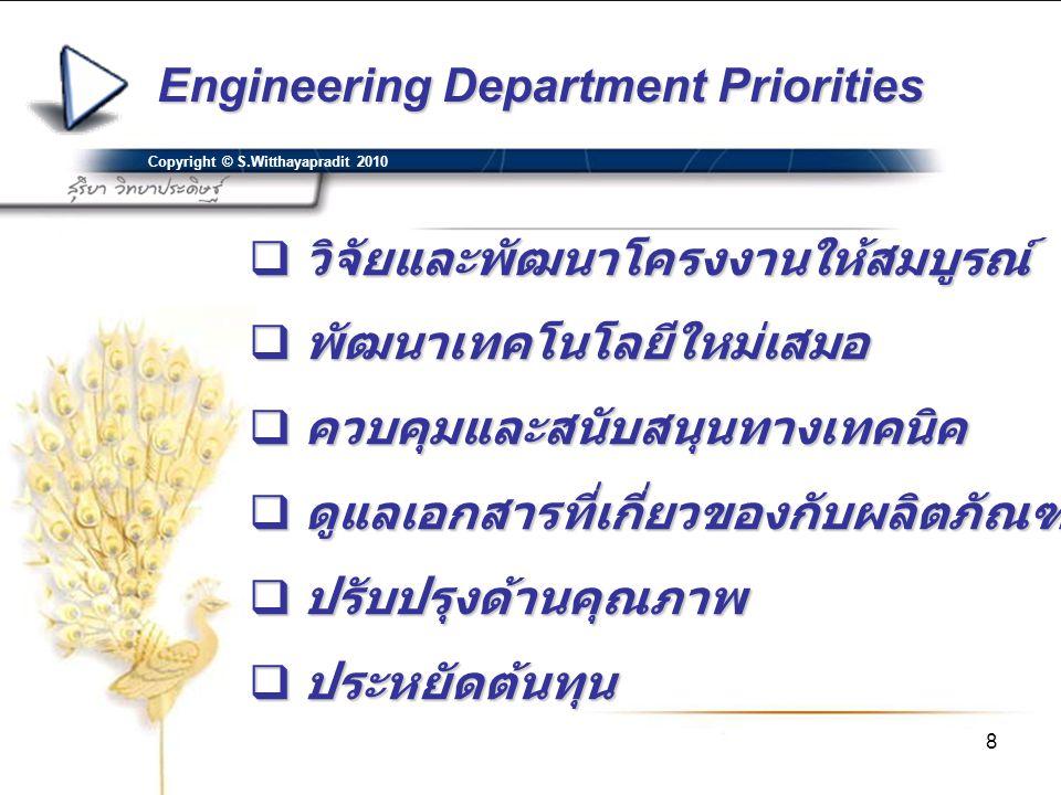 Engineering Department Priorities