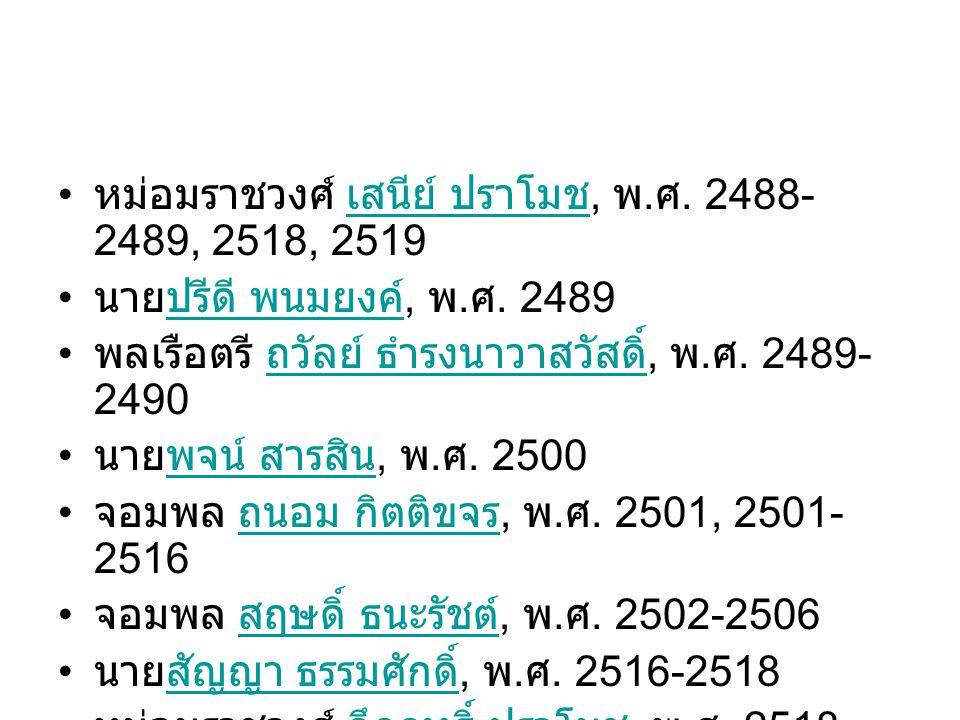 หม่อมราชวงศ์ เสนีย์ ปราโมช, พ.ศ. 2488-2489, 2518, 2519