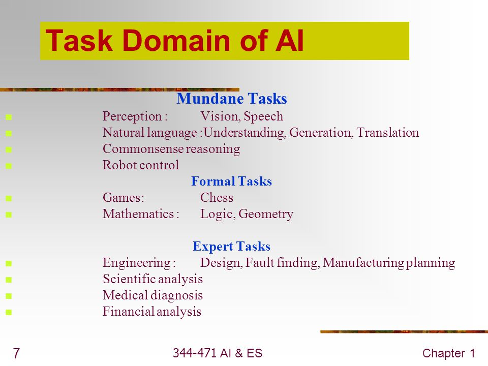 Task Domain of AI Mundane Tasks Perception : Vision, Speech