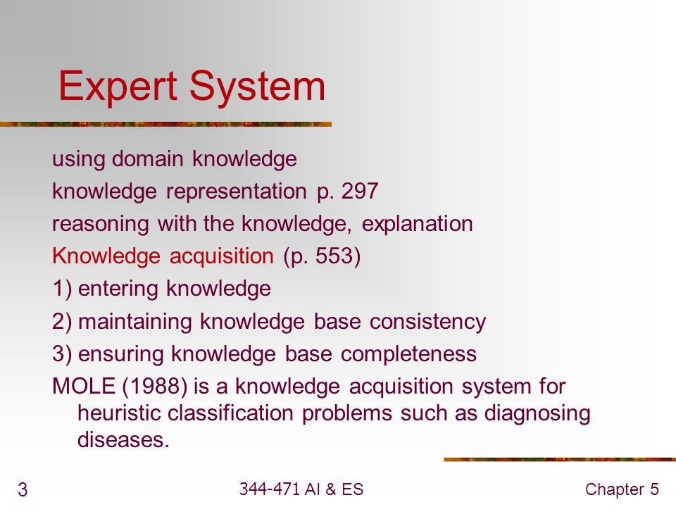 Expert System using domain knowledge knowledge representation p. 297
