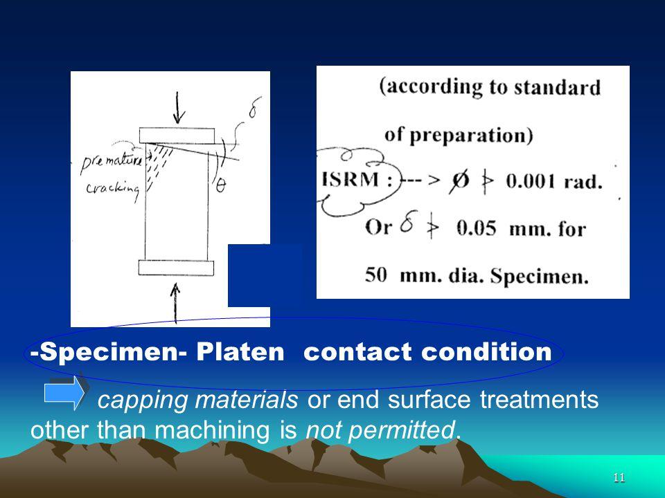 Specimen- Platen contact condition