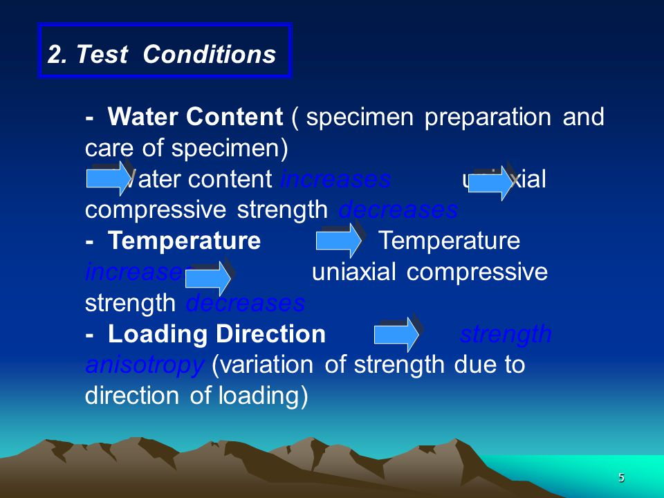 2. Test Conditions - Water Content ( specimen preparation and care of specimen)