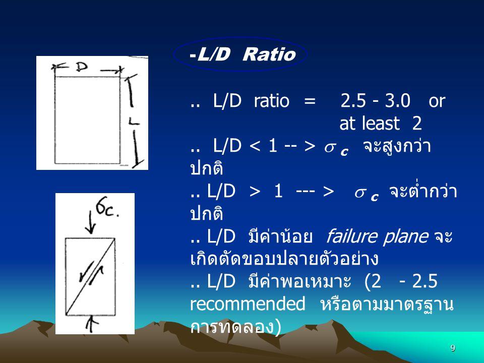 L/D Ratio .. L/D ratio = 2.5 - 3.0 or. at least 2. .. L/D < 1 -- >  c จะสูงกว่าปกติ
