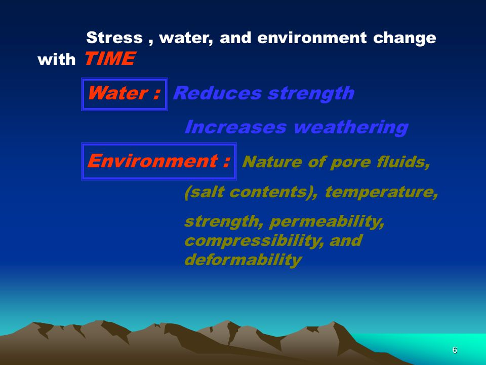 Water : Reduces strength Increases weathering