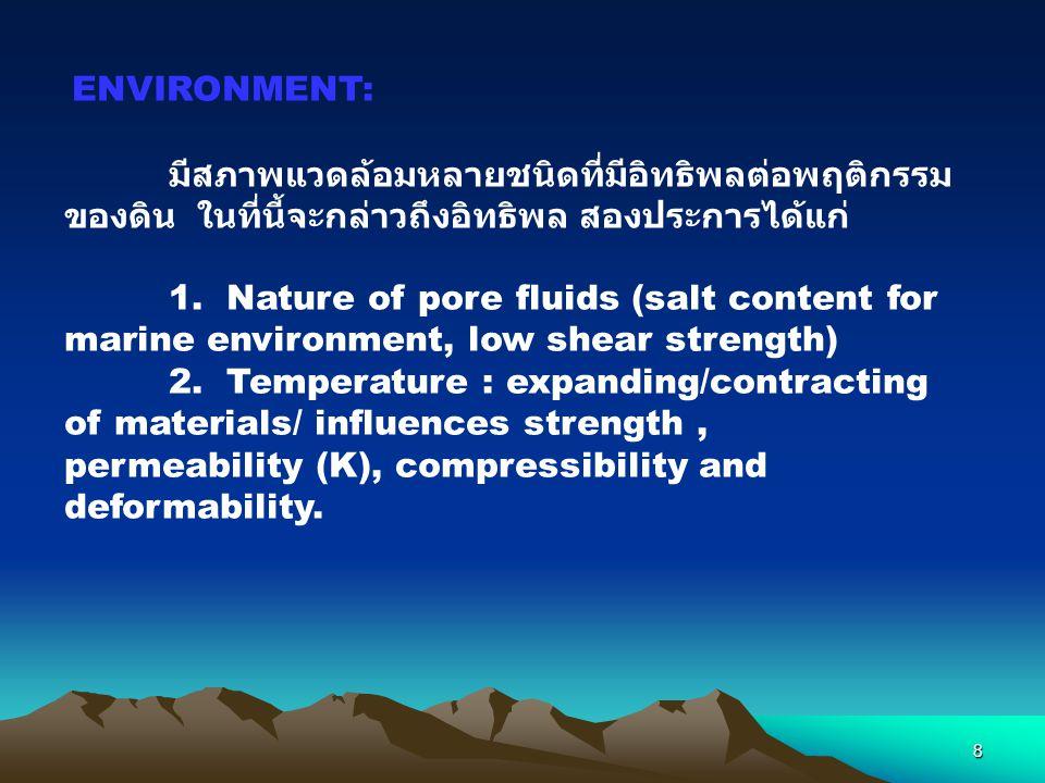 ENVIRONMENT: มีสภาพแวดล้อมหลายชนิดที่มีอิทธิพลต่อพฤติกรรมของดิน ในที่นี้จะกล่าวถึงอิทธิพล สองประการได้แก่