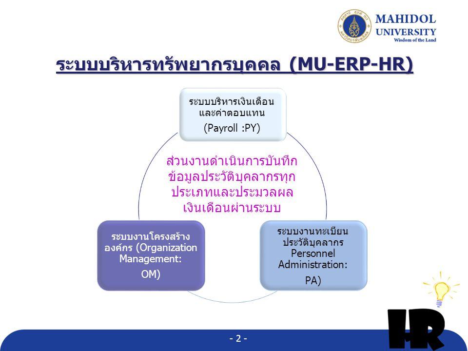 ระบบบริหารทรัพยากรบุคคล (MU-ERP-HR)