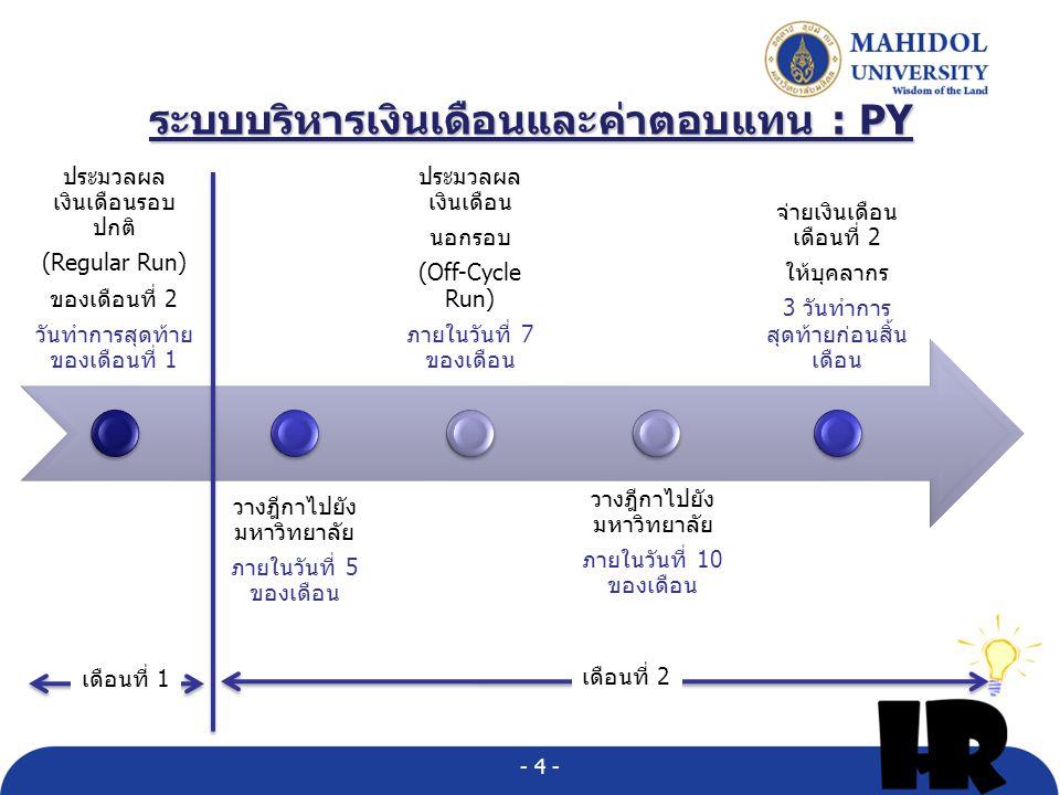 ระบบบริหารเงินเดือนและค่าตอบแทน : PY