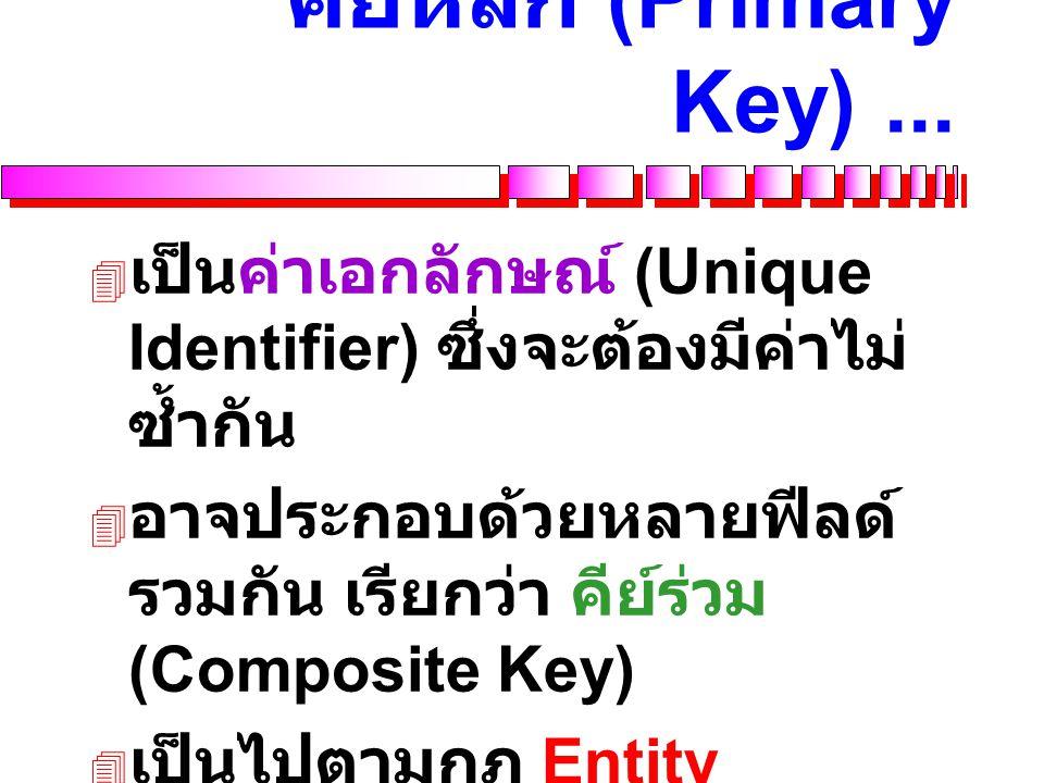 คีย์หลัก (Primary Key) ...