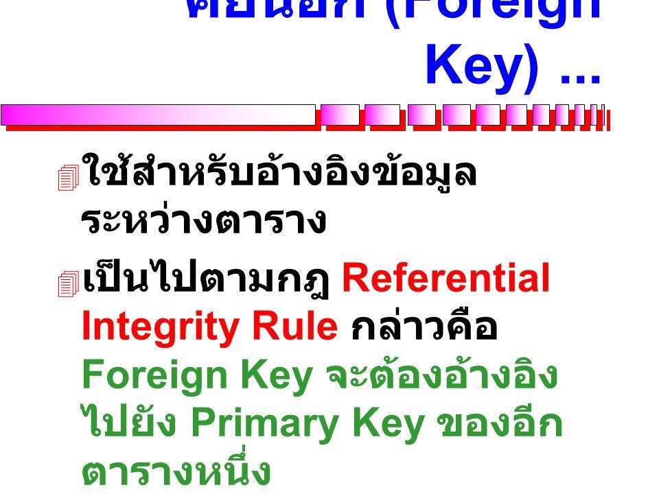 คีย์นอก (Foreign Key) ... ใช้สำหรับอ้างอิงข้อมูลระหว่างตาราง
