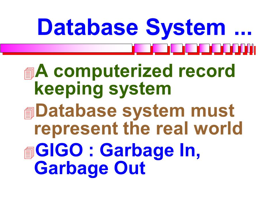 Database System ... A computerized record keeping system